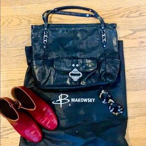 B Makowsky Leather Tote with Chain Accents